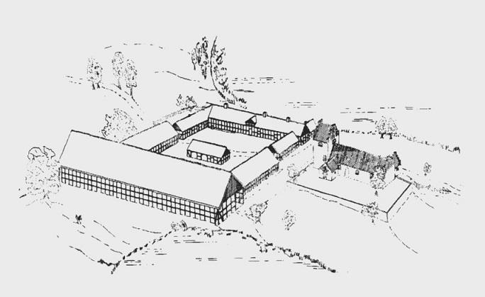 Avnsø kirke og gård tegnet på grundlag af matrikelkortet fra 1807 og brandtaxationen 1818. Efter Ganshorn 1981