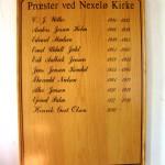 Nekselø Kirkes præstetavle.