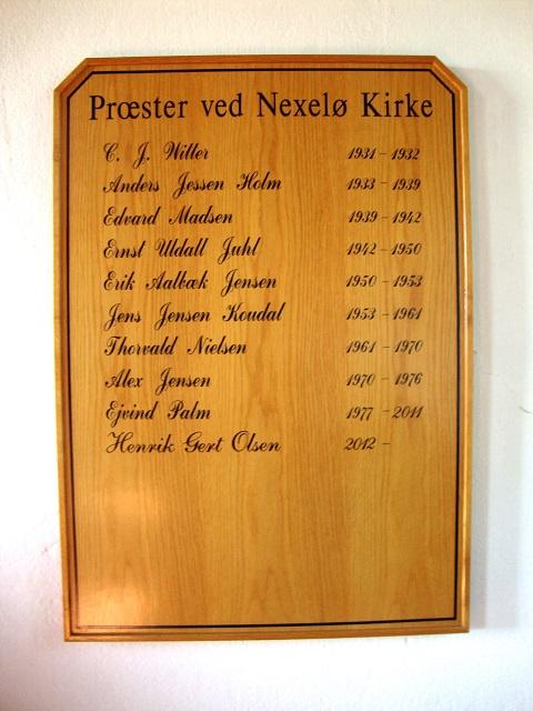 Præstetavlen i Nekselø Kirke - 3. sept. 2014. Foto: Flemming Paulsen