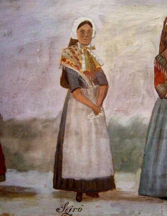 Sejerø folkedragt. - Del af maleri der opbevares på Læsø Museum.