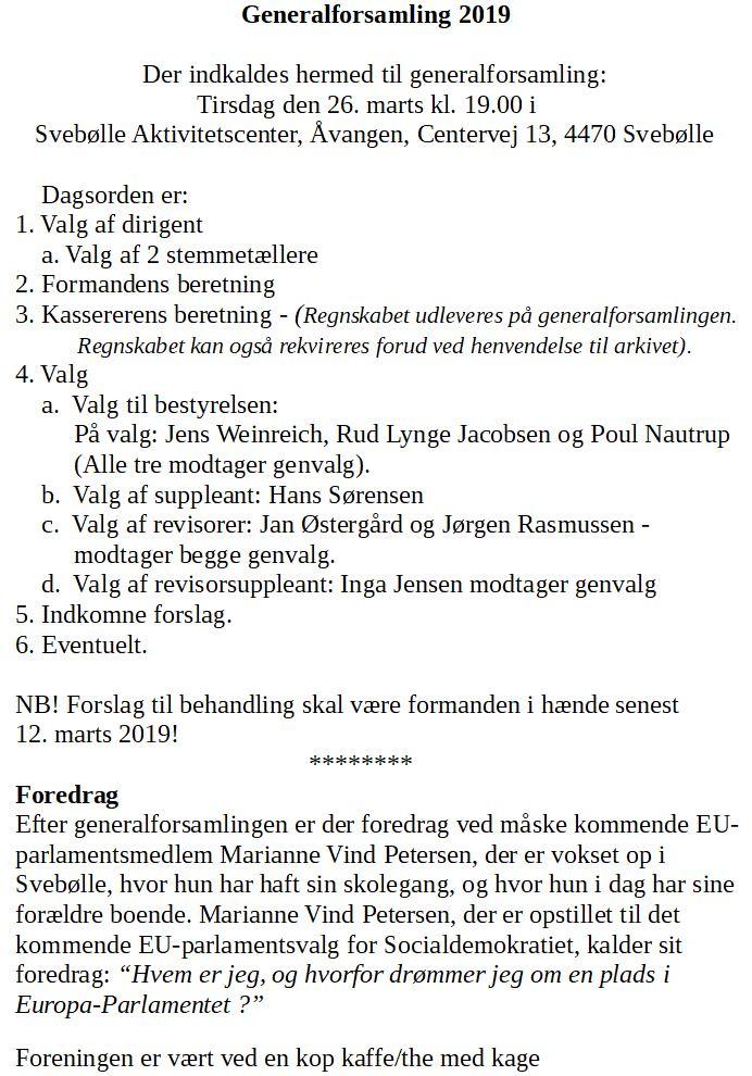 Dagsorden - Generalforsamling 26. marts 2019