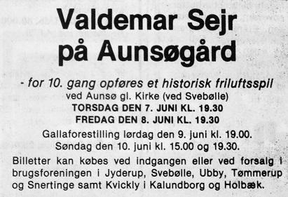 Annonce i Kalundborg Folkeblad d. 2. juni 1990